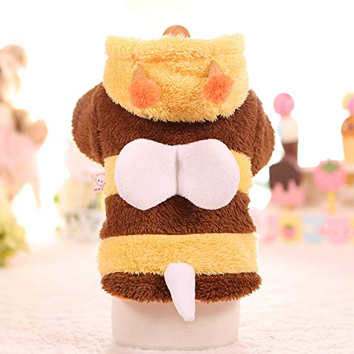 Meihejia Small Dog Costume Bee Cat Dog Sweater Puppy Clothes Hoodie Warm Coat - M