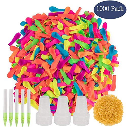 1000 Pack Water Balloons Refill Kit with Quick Easy Tools Latex Water Bomb Fight Games Sports Summer Splash Fun for Kids and Adults