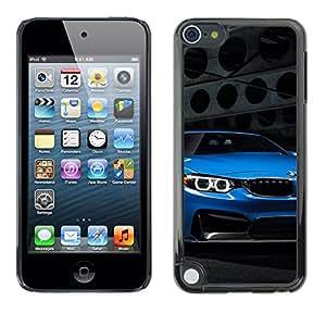 CASECO - Apple iPod Touch 5 - Blue Car - Delgado Negro Plástico caso cubierta Shell Armor Funda Case Cover - Blue Car