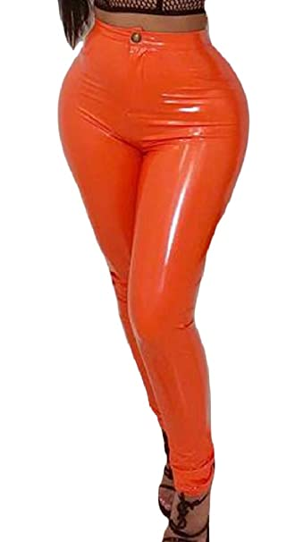 eef7a95457ca5 ONTBYB Womens Slim Faux Leather Leggings High Waisted Sexy Leather Pants at  Amazon Women's Clothing store: