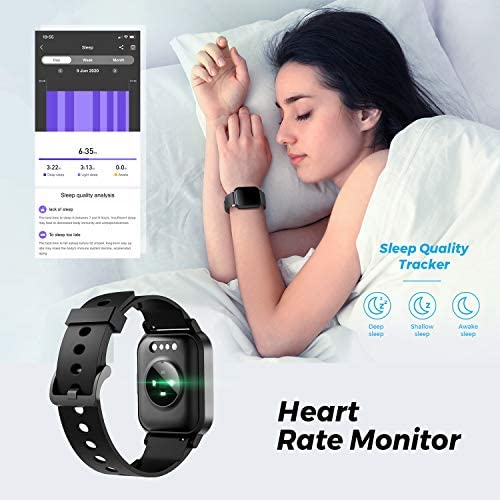 SoundPEATS Watch 1 Smart Sports Watch Health and Fitness Tracker with Heart Rate Monitor Sleep Quality Tracker IP68 Waterproof 1.4″ Color Touch Screen Call & Message Reminder 12 Sports Modes 51a02AebtRL