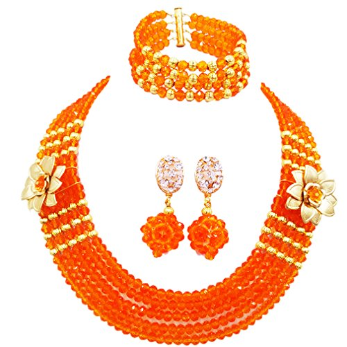 (laanc 5 Rows Multicolors African Beads Jewelry Set,nigerian Wedding Beads Jewellery Sets A-022A (Orange))