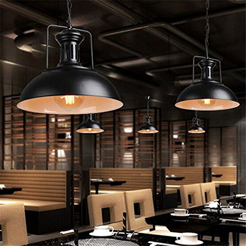 Iron Retro Industrial Restaurant Chandelier Cafe Dining Table Barber Shop Iron Cover Workbench Bar Counter Light, Black, ()
