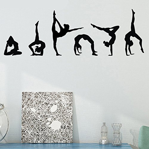"Room Decal Decor (Easma Gymnastics Wall Decals Silhouettes Sport Art Girl Vinyl Decals Wall Sticker For Kids Room Decor Nursery Home Wall Decor Set of 6 (7.87""H X 23.62""W))"