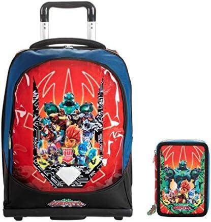 Mochila escolar Gormiti con 3 ruedas, estuche con 3 cremalleras, llavero silbato y 10 bolígrafos con purpurina.: Amazon.es: Equipaje