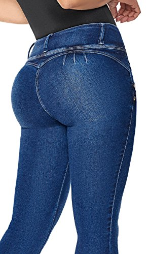 Laty Rose 2016 Colombian Enhancing Bigger Butt Lifting Tummy Skinny Blue Jeans for Women Pantalones Colombianos Levanta Cola Stretch de Mujer Azul Intense Blue 7 (Pantalon Jeans)