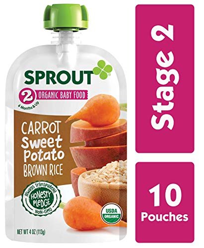 Sprout Organic Stage 2 Baby Food Pouches, Carrot Sweet Potato Brown Rice, 4 Ounce (Pack of 10)