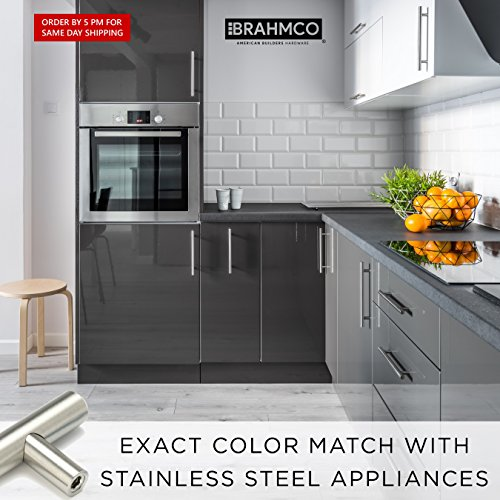 30 Pack | 5'' Stainless Steel T Bar Cabinet Pulls: 3 Inch Hole Spacing | Brahmco 180-5 | Modern Euro Style Brushed Satin Nickel Finish Kitchen Cabinet Handles Hardware/Drawer by Brahmco (Image #5)