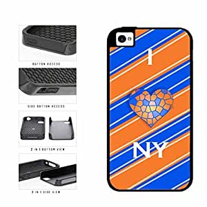 Orange And Blue I Love NY With Basketball Heart Dual Layer Phone Case Back Cover Apple iPhone 6 4.7 includes diy case Cloth and Warranty Label