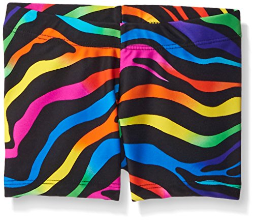 Dance Print Shorts (Gia-Mia Dance Big Girls Remix Print Short, Rainbow Zebra, Small)