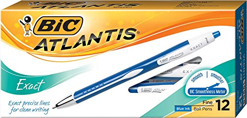 BIC Atlantis Exact Retractable Ball Pen, Fine Point (0.7 mm), Blue, 12-Count