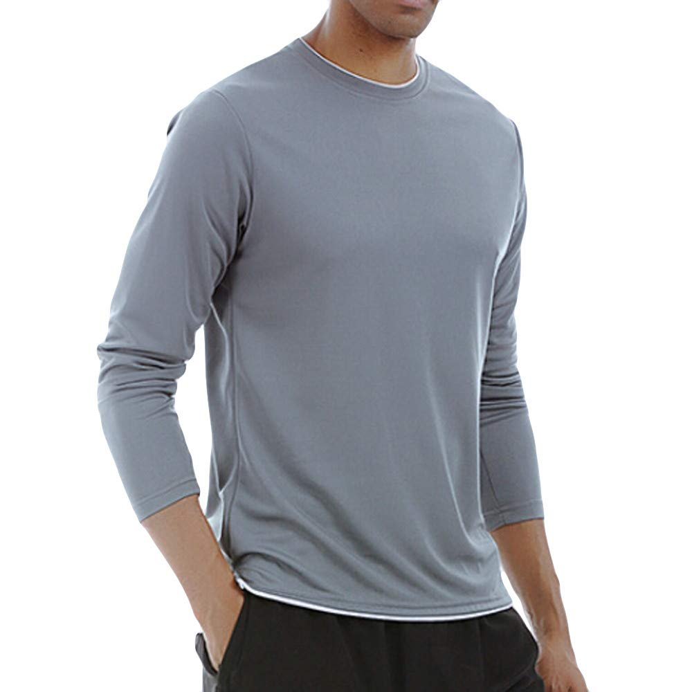 Cuekondy Men's Long Sleeve T-Shirt Base Layer Dry Fit Compression Top Sport Workout Fitness Athletic Shirts(Gray,XL)