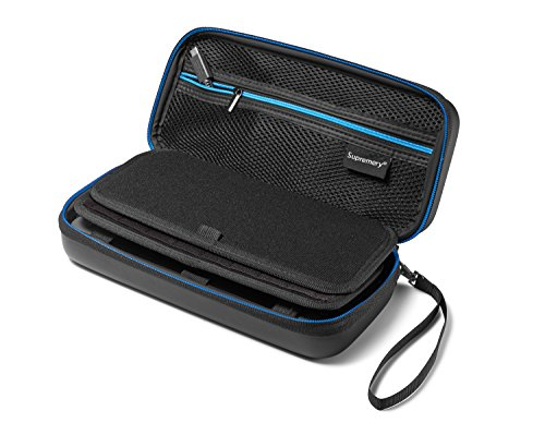 Supremery Nintendo Switch Case Bag with mesh pocket, zipper and snap hook - Water resistant in blue / black - Pokemon Snap 64