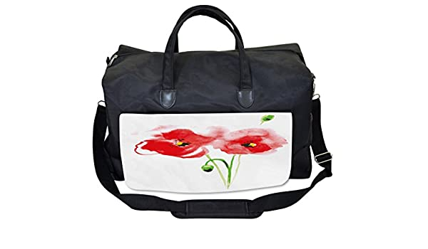 Large Weekender Carry-on Ambesonne Nature Gym Bag Romantic Poppy