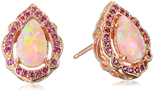 Rose Gold Plated Sterling Silver Pear Shaped Created Pink Opal 8x5mm and Round Created Pink Sapphire Stud Earrings
