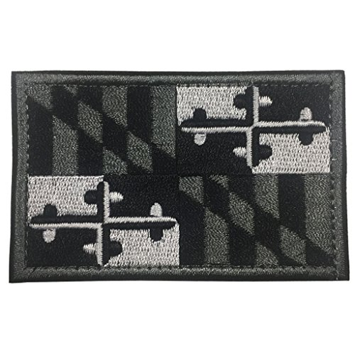 SpaceAuto Maryland State Flag Tactical Morale Patch - Black & White & Gray