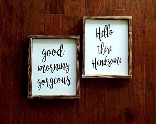 Cheap Hello There Handsome & Good Morning Gorgeous Pallet Wood Framed Signs | Hand Painted | Home Decor | Farmhouse | Housewarming | Fixer Upper Style