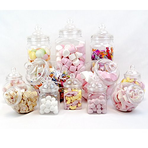 12 Jar Vintage Victorian Pick & Mix Sweet Shop Candy Buffet Kit Party Pack ()