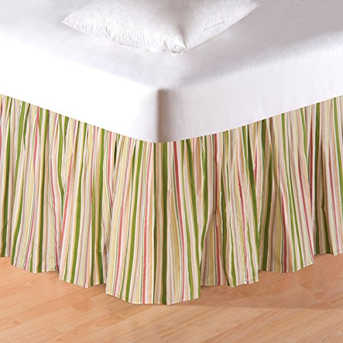 Talia King Bed Skirt Pink Brianna Strip Bed ()