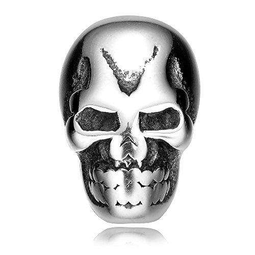 REAMOR 5pcs 2mm 316l Stainless Steel Human Skull Head beads Charms for Men (Multi Strand Dangle)