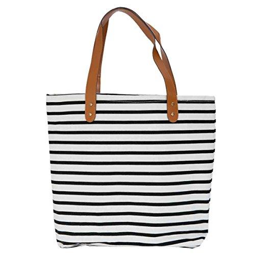 Clayre & Eef BAG229 borsa tessuto sacchetto custodia nero bianco a righe ca, 40 x 44 cm