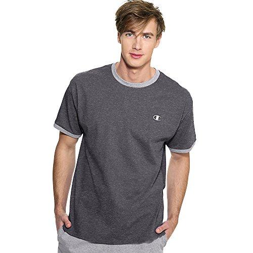 Champion Cotton Jersey Men's Ringer T Shirt_Granite Heather/Oxford Grey_XXL