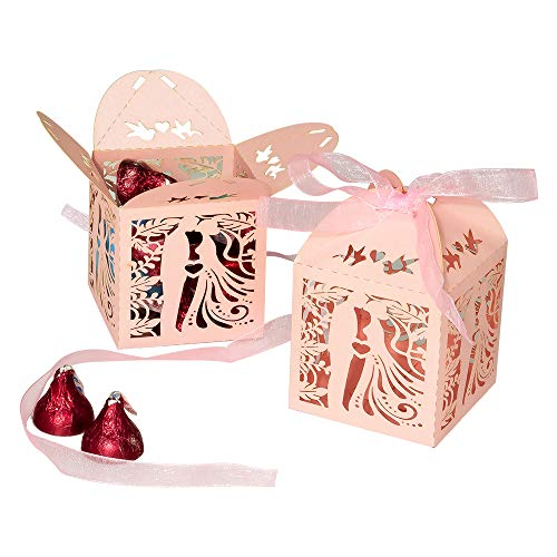 Wedding Party Candy Favor Boxes – 50pcs 2.3inch Laser Cut Kiss Lover Favor Treat Gift Box with Ribbon Paper Favor Boxes for Wedding, Engagement, Bridal Shower, Party, Anniversary Decors (Pink)