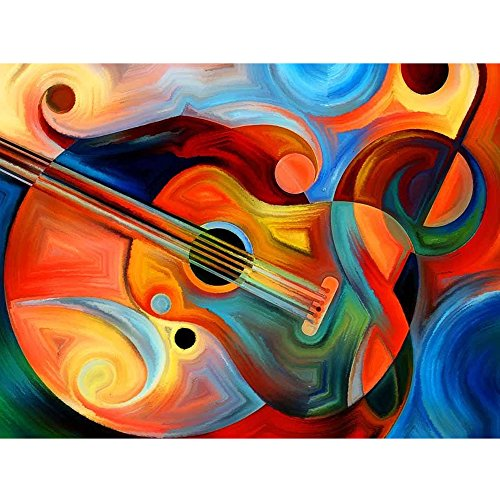 5D Diamond Painting Full Drill Kit for Adults, Multi-colored Guitar 12 x 16 inch Embroidery Rhinestone Cross Stitch Arts Craft Canvas for Home Wall Decoration by USLINSKY