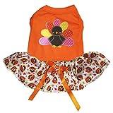 Petitebella Thanksgiving Rainbow Turkey Orange Shirt Turkey Tutu Puppy Dog Dress (Medium)