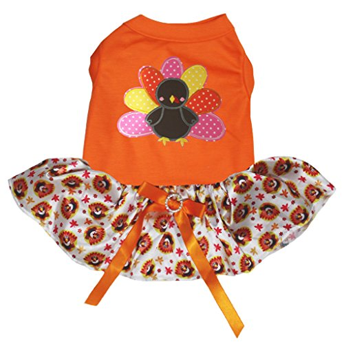 Petitebella Thanksgiving Rainbow Turkey Orange Shirt Turkey Tutu Puppy Dog Dress (Medium)
