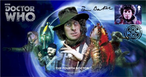 Dr Doctor Who BBC Official 50th Anniversary Limited Edition Tom Baker Signed First Day Stamp Cover - The Fourth Doctor - Tom Baker