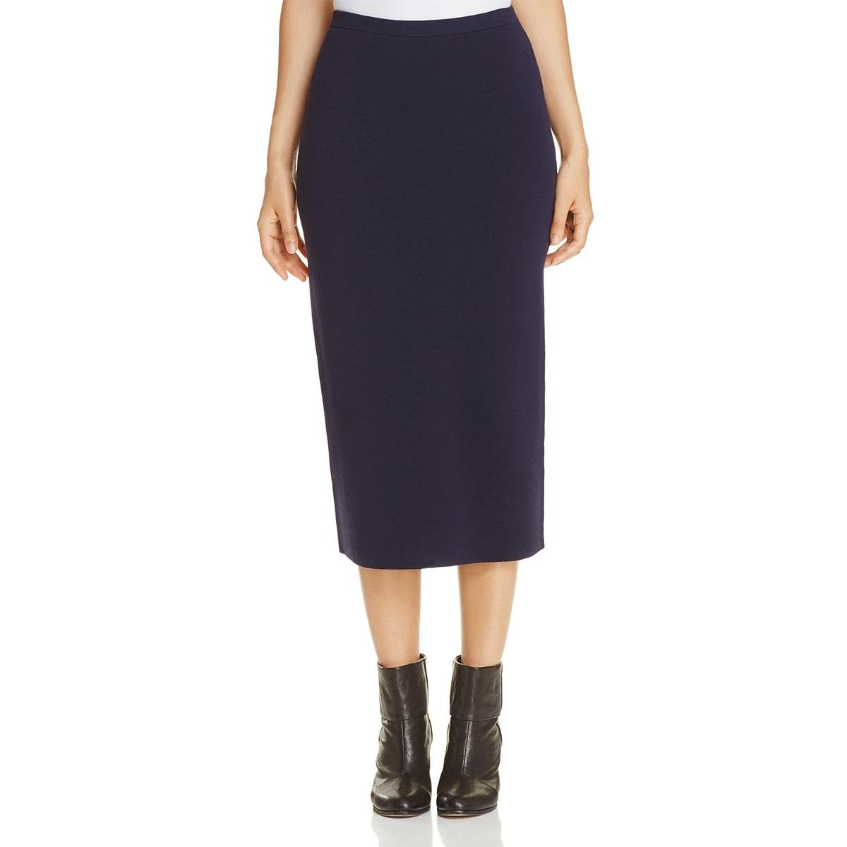 Eileen Fisher Womens Petites Silk Textured Pencil Skirt Navy PP