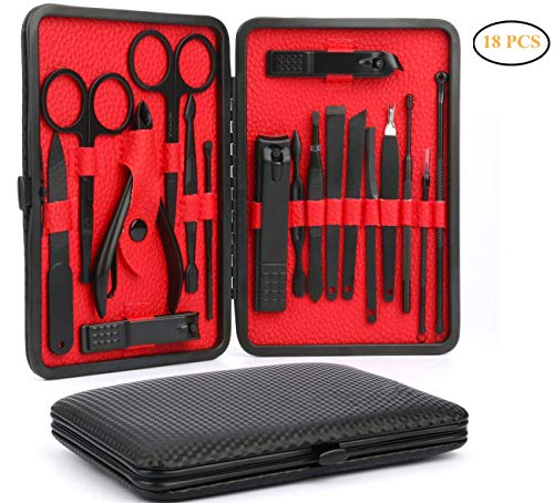 Manicure Pedicure Set, 18 In 1 Nail Clippers Set Stainless Steel Professional Pedicure Kit Nail Scissors Grooming Kit with Leather Case -