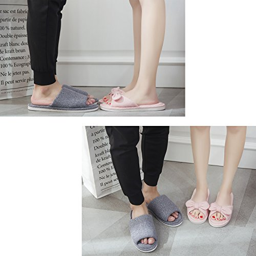 xsby Home Slippers for Men, House Slippers Non-Slip Open Toe Couple Sandals Knitted Cotton Mules Shoes Dark Grey-A 44-45 by xsby (Image #5)