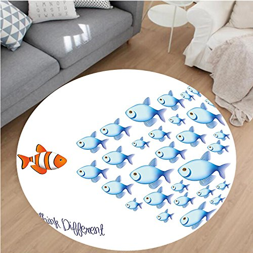 Nalahome Modern Flannel Microfiber Non-Slip Machine Washable Round Area Rug-Decor Quote with Outsider Fish against All Others Motivational Print Artwork Blue Orange area rugs Home Decor-Round (Outsider Flannel)