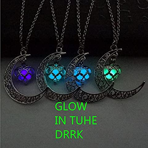 Crescent Moon Glow Locket Orb Magic Necklace Glowing Galaxy Luna Celestial Space Jewelry Handmade Silver Filigree Pendant Glows in the (Magical Crescent Moon Necklace)