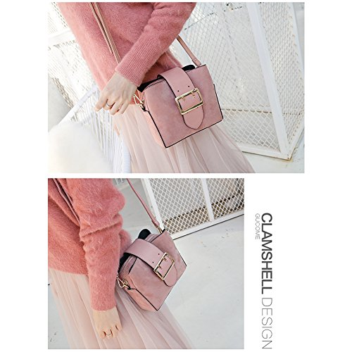 Yoome Women Vintage Bucket Bags Crossbody Shoulder Bags with Pin Buckle Belt Small Hobo Bags - Grey Rosa TIceNpof7e