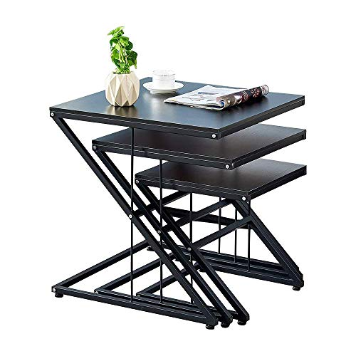 Ansley&HosHo Nesting Tables 3 Piece Nested End Tables Z Shaped End Table Sofa Side Coffee Table Stacking Modern Industrial Nest of 3 Tables for Living Room Bedroom Reception Room Balcony Deck (End Tables Nested)