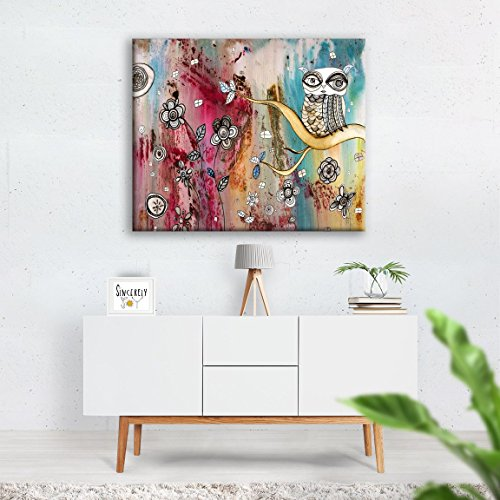 Large OWL Abstract Wall Art Canvas Print Original Bird Painting - Outsider Art Original Painting
