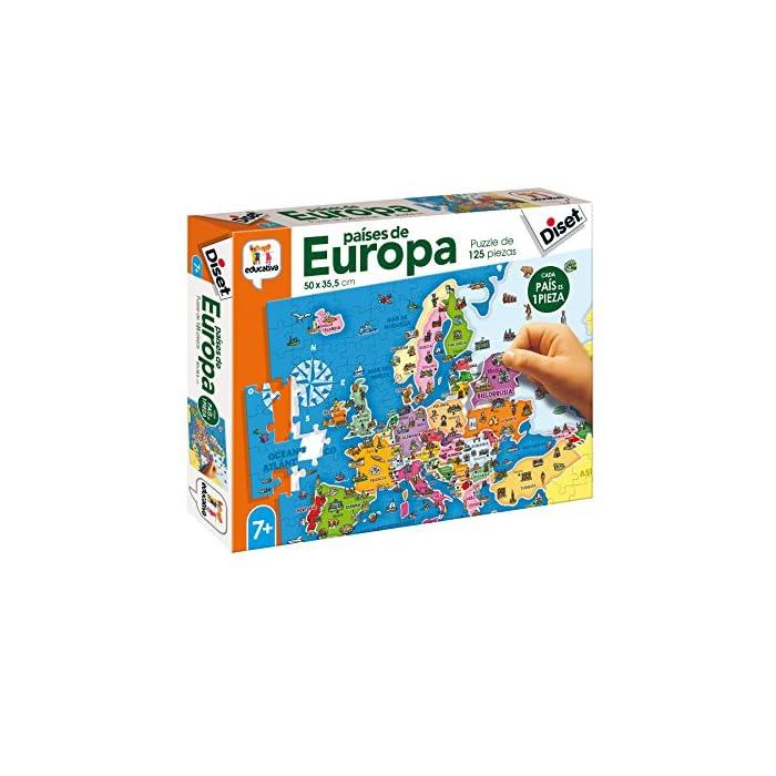 51a05UV3qgL Puzzle educativo de los países de Europa; una forma divertida de aprender la geografía europea y alguno de sus elementos culturales más característicos Cada país es una pieza, eso favorece el aprendizaje de cada país (con un color y forma diferentes)… y ayuda a entender el concepto de país y continente Desarrolla la capacidad de concentración y de relacionar; mejora la coordinación ojo-mano y la motricidad fina; mapa Actualizado