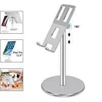 Salandens Soporte Tablet,Telescopic Adjustable iPad Stand Holder,Universal Multi Angle Aluminum Stand Compatible with iPhone Smart Cell Phone/Tablet/iPad(4-12.5 Inch), Silver