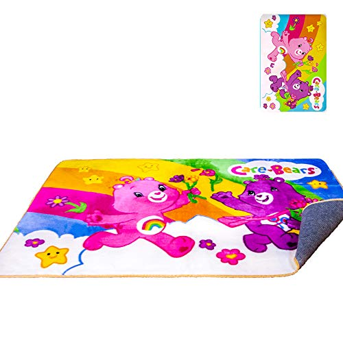 Carebears Rug 48'' x 72'' - Officially Licensed - Super Soft & Thick Surface - Anti-Slip for Hard Surface Floor - 100% Polyester
