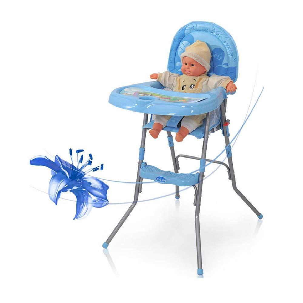 Verstellbar und Klappbar Kinderhochstuhl Platzsparend f/ür Kinder von 6 Monaten bis 3 Jahren 14kg Blau Hochst/ühle Baby