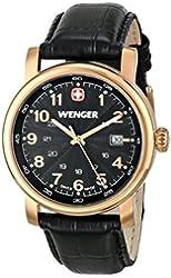 Wenger Urban Classic Black Dial Gold-Tone SS Leather Quartz Men's Watch 01.1041.108