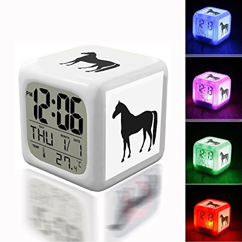- Wake Up Alarm Thermometer Night Glowing Cube 7 Colors Clock LED for Bedroom&Table,School Desk Customize 313.Horse Silhouette Clipart