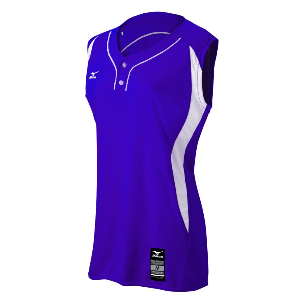 MizunoレディースElite 2ボタンゲームJersey – Sleeveless B0728CSVFX 3X-Large|Purple-White Purple-White 3X-Large