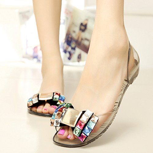 03626fab2e22e Amazon.com   MEIREN Female new 2016 Summer sandal clear Crystal rhinestones  shoes jelly fish mouth shoes flat women s shoes open toe sandals   Sports    ...