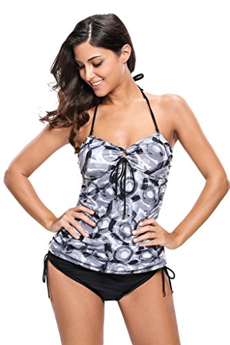 Aleumdr Women's Halter Top Triangle Briefs Swimsuits Tankini XL Black Ink Halo