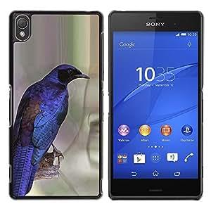 Caucho caso de Shell duro de la cubierta de accesorios de protección BY RAYDREAMMM - Sony Xperia Z3 D6603 / D6633 / D6643 / D6653 / D6616 - Blue Bird Feathers Wings