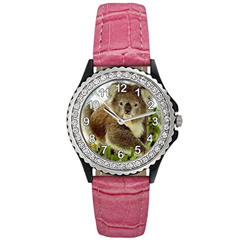 Koala Bear Crystal Rhinestone Pink Leather Wrist Watch